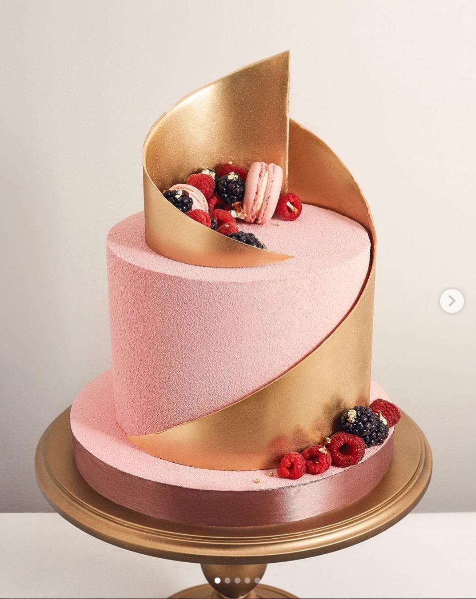Gold Wrapped Pink Cake Metallic Cake Cake Pink Cake
