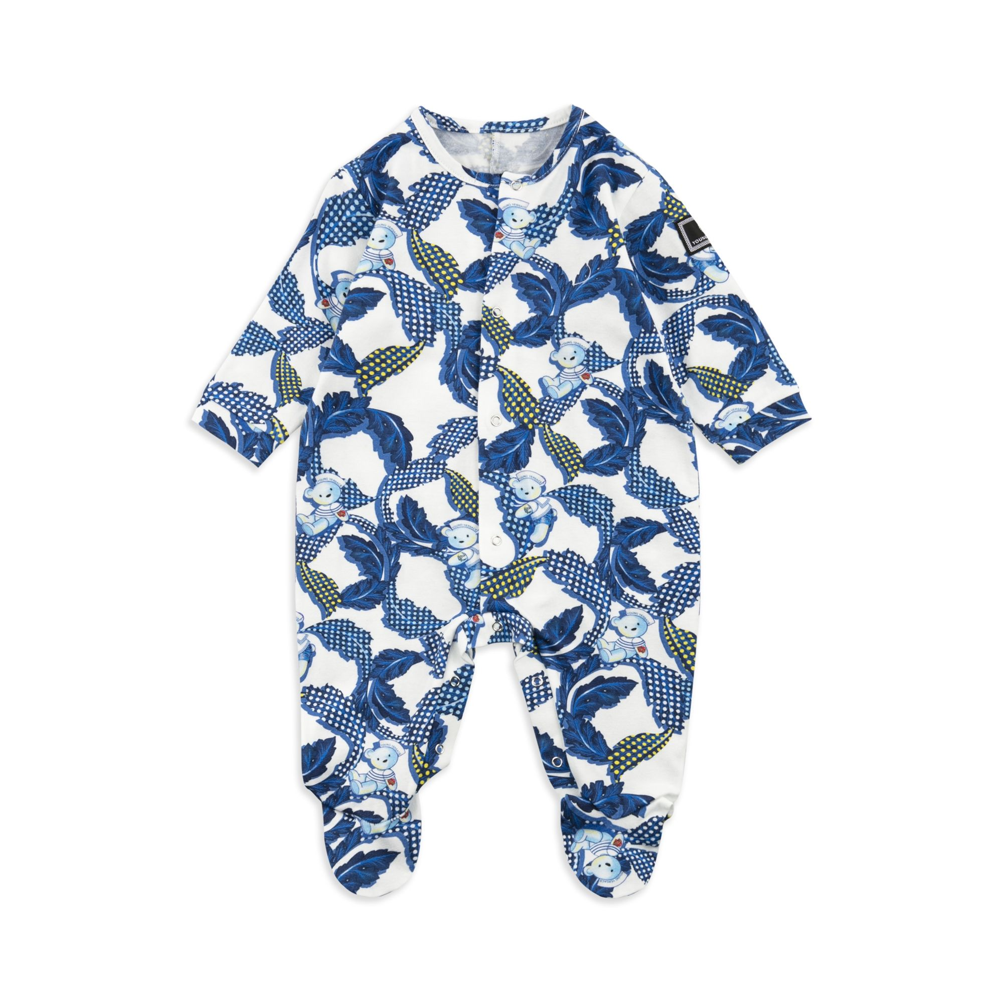 YOUNG VERSACE Baby Boys Baroque Shortall Blue Baby boys shortall