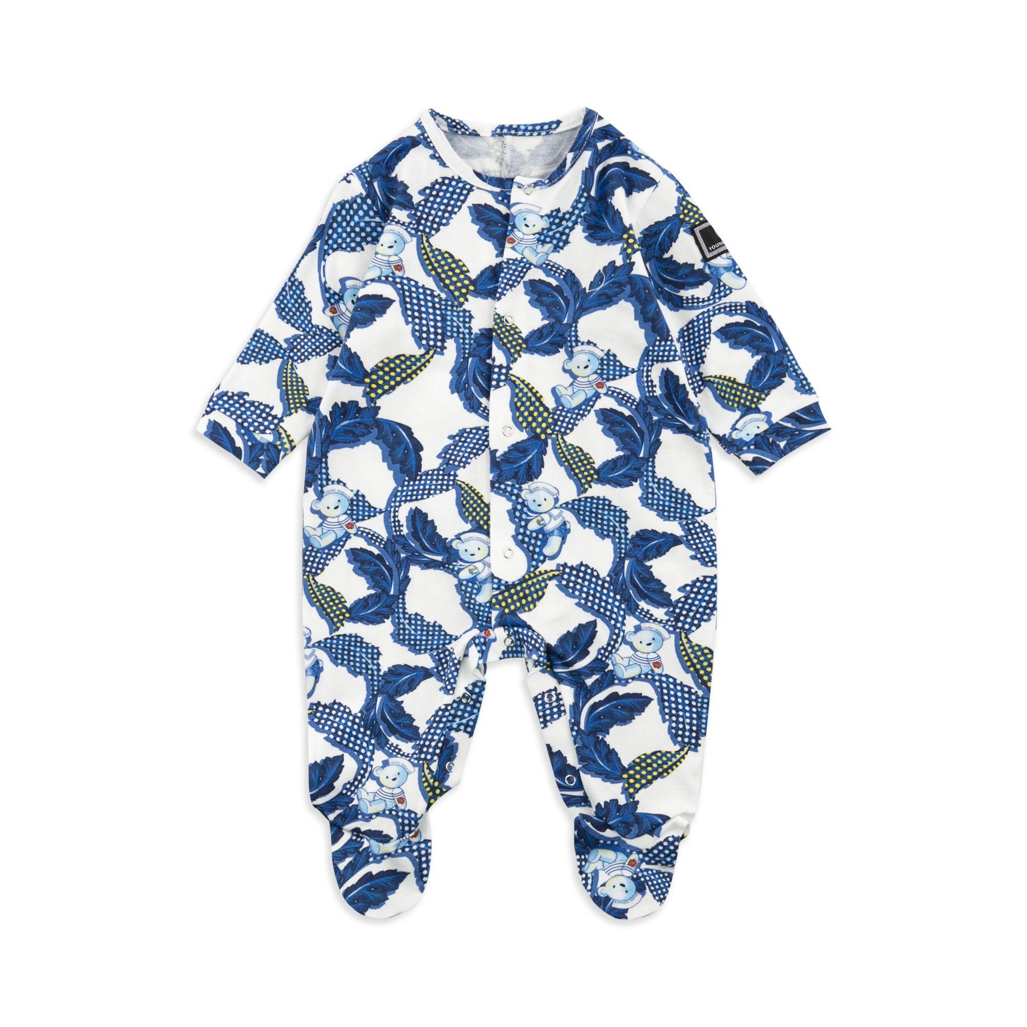 YOUNG VERSACE Baby Boys Baroque Shortall Blue Baby boys shortall