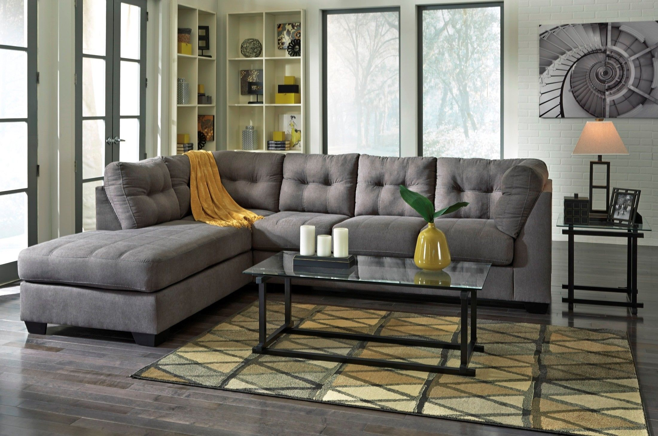 Maier Charcoal Laf Sectional 3 Furniture Ashley Furniture Sofas