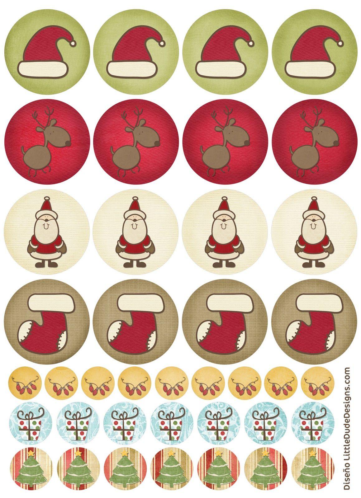 Tarjetas, etiquetas y pegatinas de navidad imprimibles de BlogDesign ...