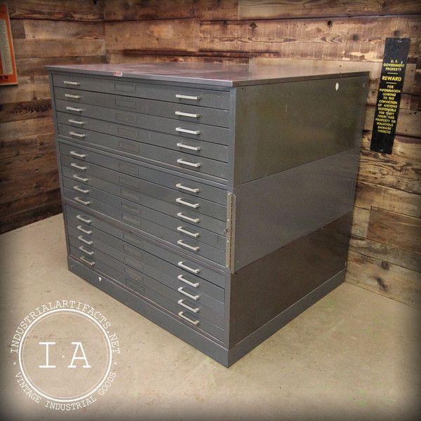 Vintage Industrial Hamilton 15 Drawer Steel Flat File Cabinet Drafting Architectural Art Archive Flat File Cabinet Filing Cabinet Vintage Industrial