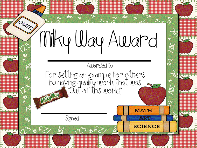 candy award printable certificates crafty candy awards student