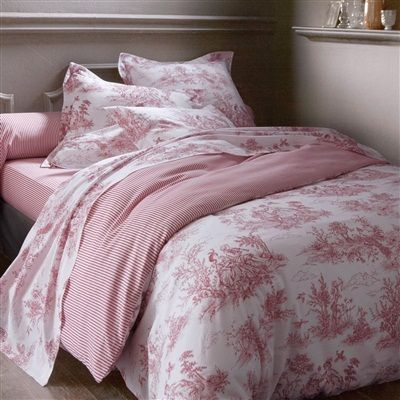 Bergere Reversible Cotton Toile De Jouy Print Duvet Cover Printed Red Ecru Toile Bedding Bed Red White Decor