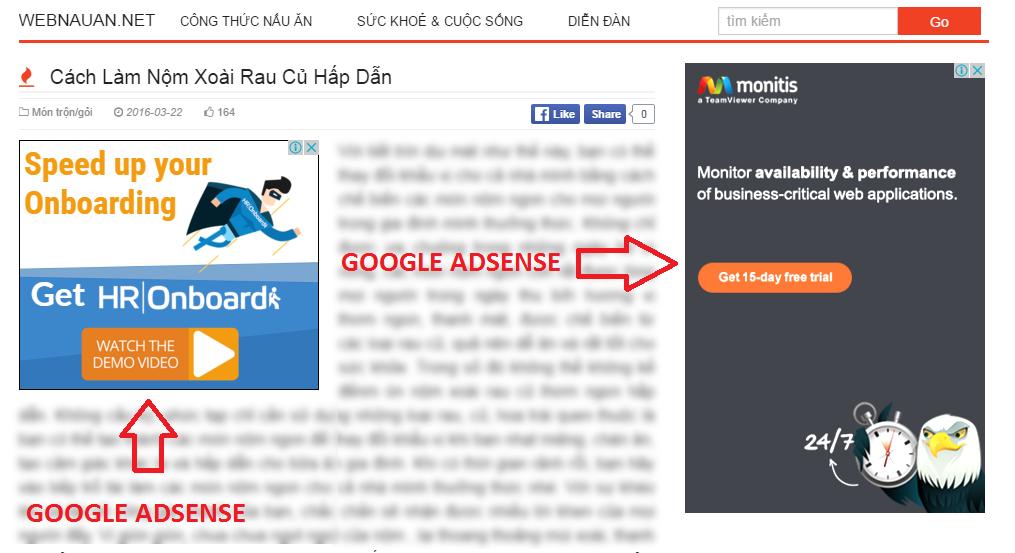 ví dụ về Google Adsense