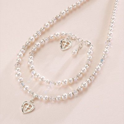First Holy Communion Jewellery Set white pearls Christening Day Jewellery Gift