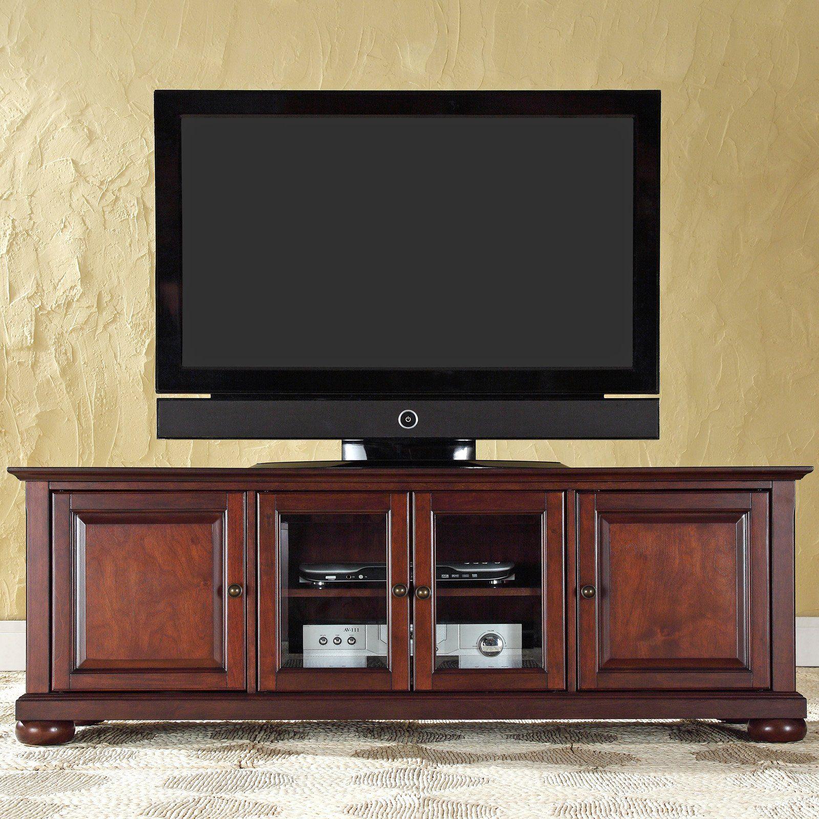 Have To Have It Crosley Alexandria 60 In Low Profile Tv Stand Vintage Mahogany 329 Hayneedle Com Low Profile Tv Stand Tv Stand 60 Tv Stand