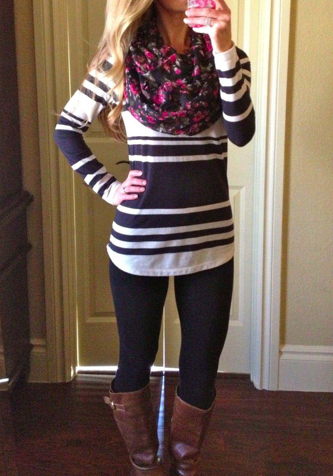 Forever 21 leggings, Old Navy stripe boat neck top, Target floral print  infinity scarf, Steve Madden Cognac Boots. Lovin' the stripes & floral.