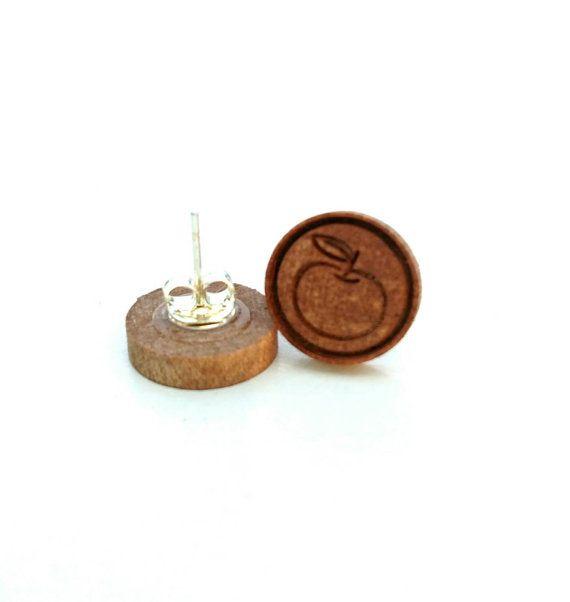 Apple Earrings Wood Earrings Teacher by CraftyBellesEst2015