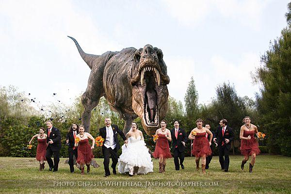Fun Jurassic Park Trex Chasing Bridal Party Photo At The