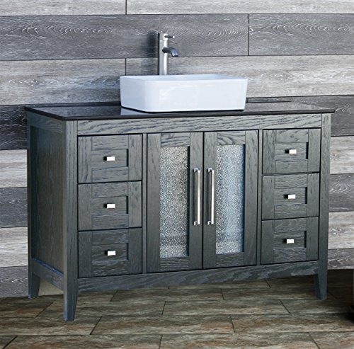48 Bathroom Vanity Cabinet Black Granite Top Ceramic Vessel Sink - Vessel Sinks Bathroom