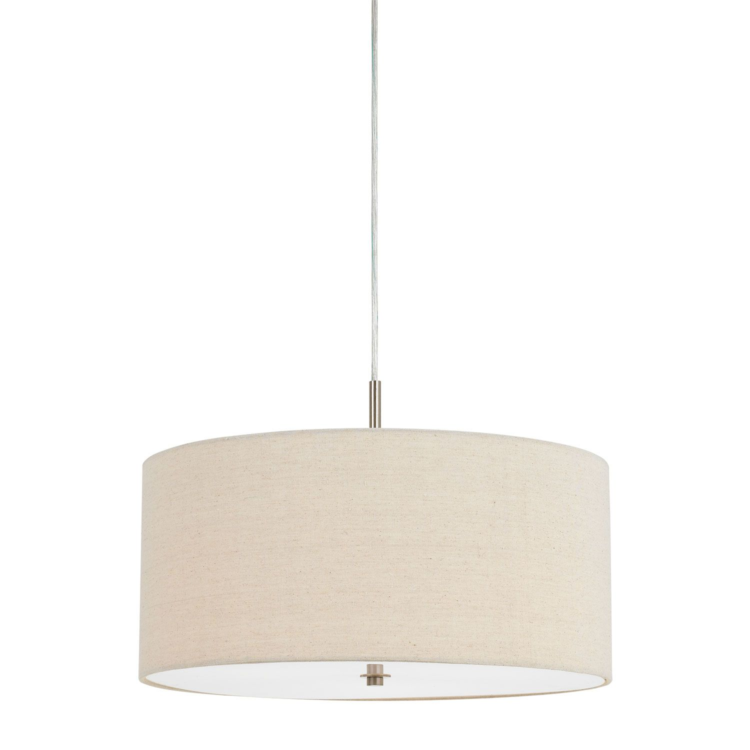 Cal Lighting Addison Off White Three Light Linen Drum Pendant Fx