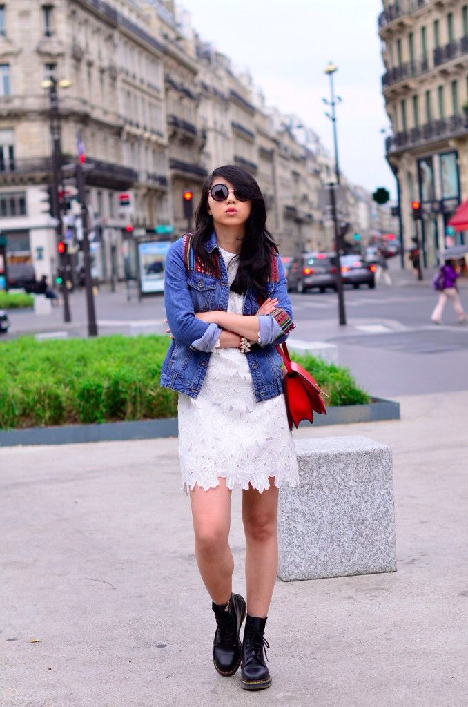 Spring outfit : www.yuyufashionbook.com #denim #jean #fashion #streetstyle #lace #dentelle #dresse #robe
