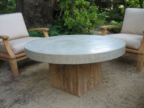 Round concretetop coffee table inspiration for sunroom DIY