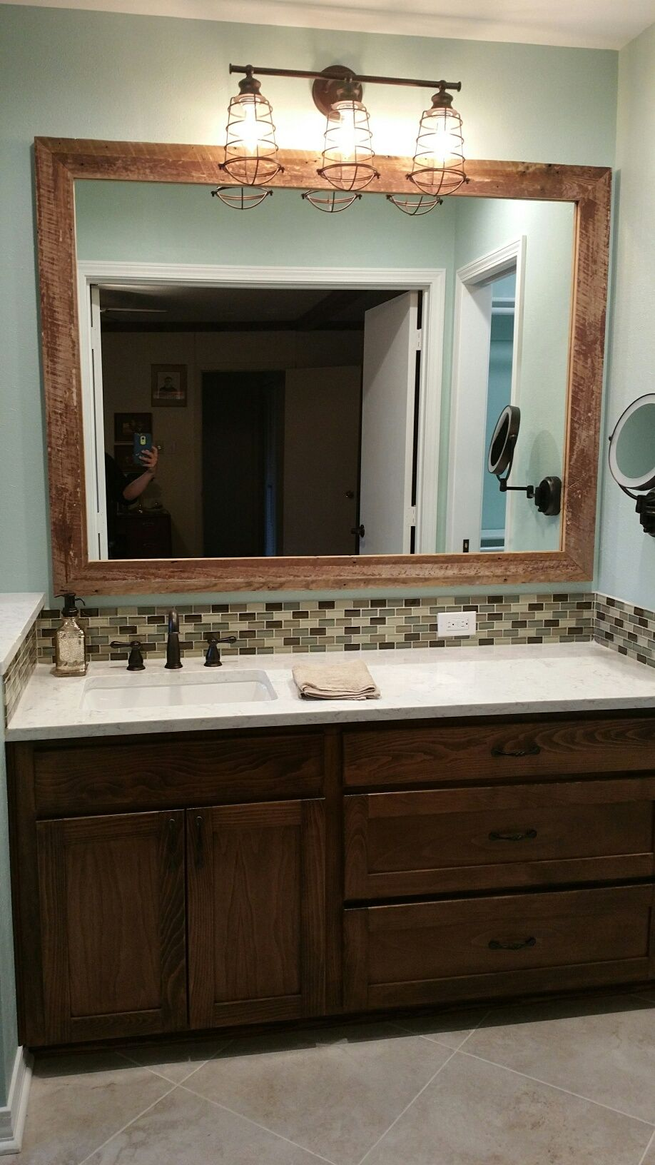 Remodeled Traditional Bathrooms a hint of rustic in a traditional bathroom remodel. minuet quartz