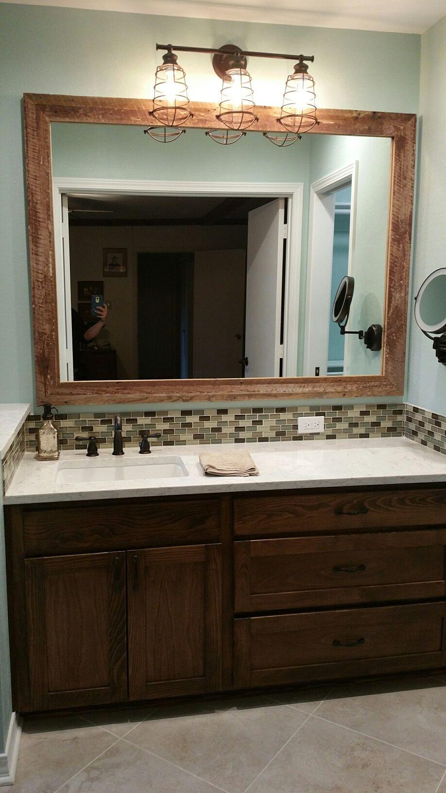 A Hint Of Rustic In A Traditional Bathroom Remodel. Minuet Quartz  Countertop, Gray Porcelain