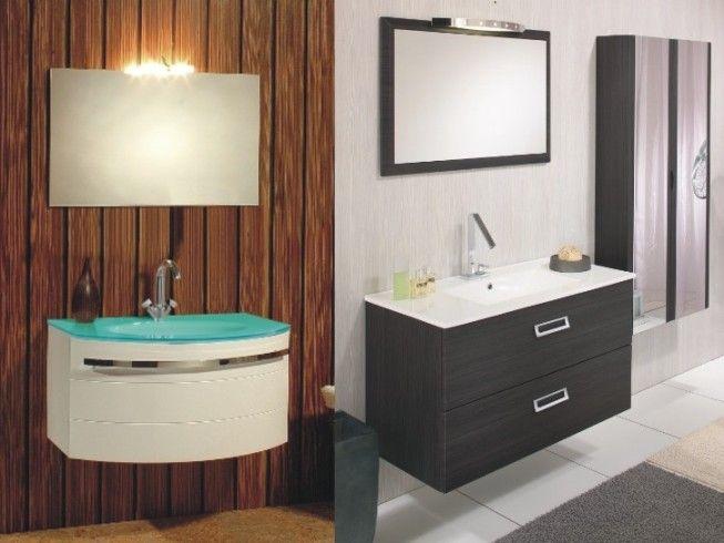 mobile bagno con lavabo in cristallo verde | Mobile bagno moderno ...