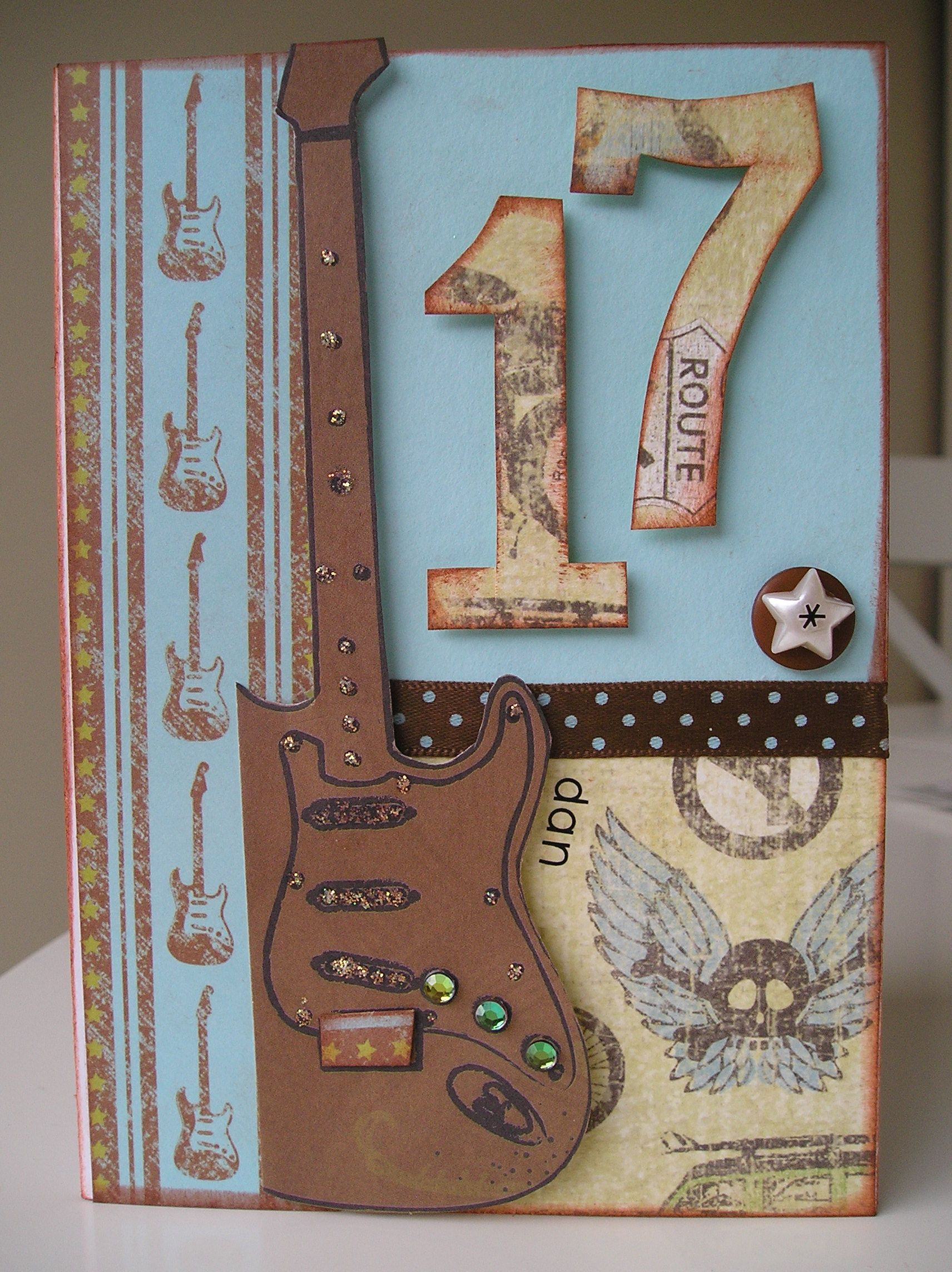 Guitar Card For 17 Year Old Homemade Birthday Cards Boys Masculine