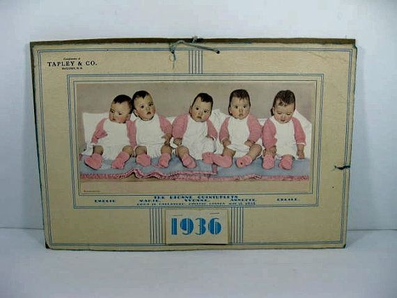 Dionne Quintuplets 1936 Calendar Advertisment by TheFrontHouse, $15.00