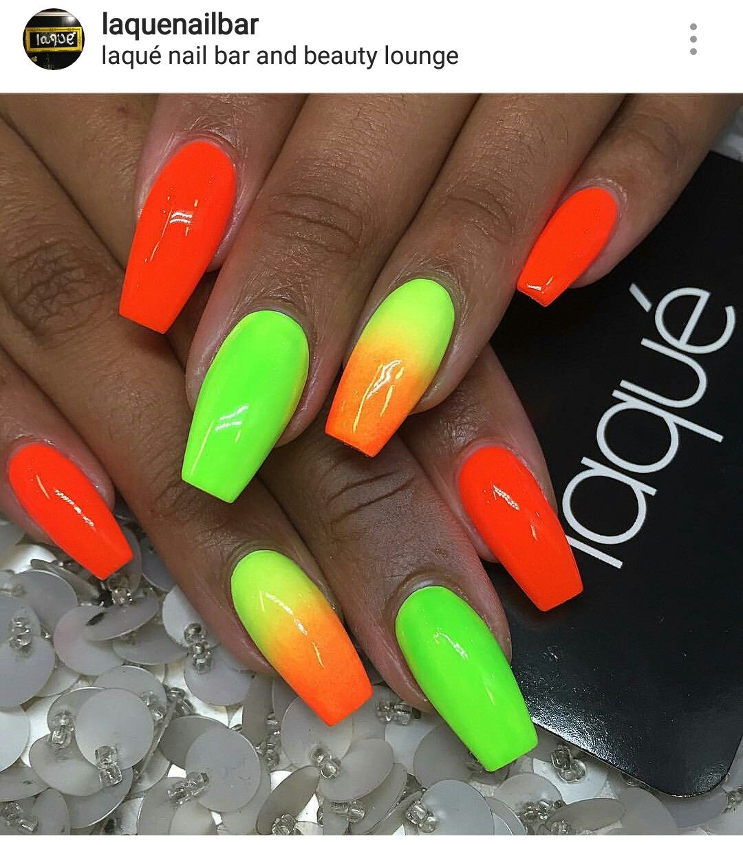 Like The Green But Change The Orange To Hot Pink Neon Nails Bright Nails Neon Trendy Nails