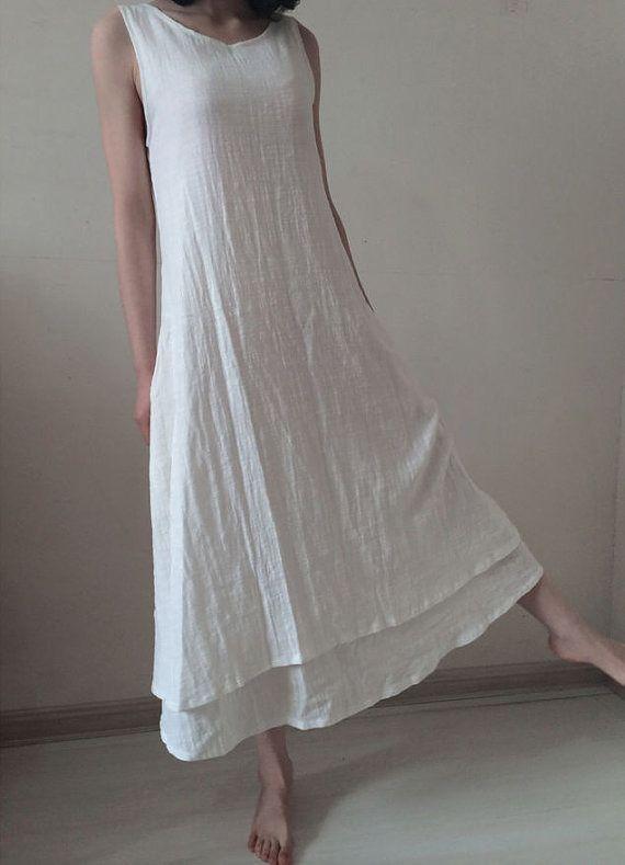 Robe de lin blanc robe maxi robe d'été de coton lin blouse