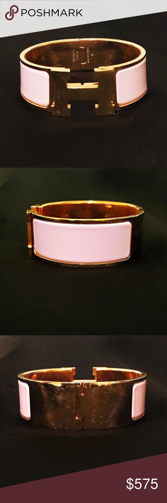 Hermès gold clic clac h bracelet preowned hermes enamel bracelet