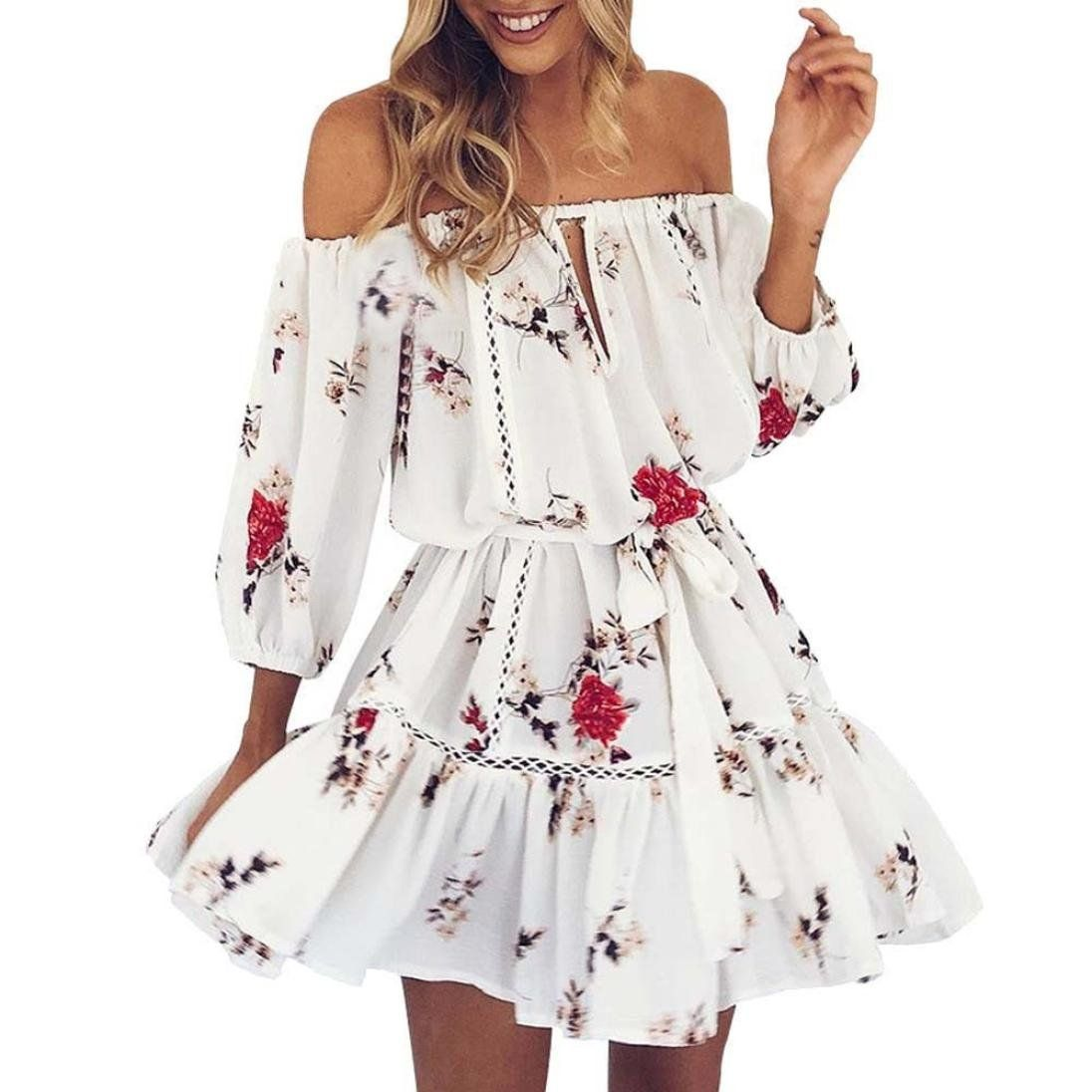 f5484774b23 TOTOD Womens Bud Summer Off Shoulder Three Quarter Floral Print Sundress  Party Beach Short Mini Dress at Amazon Women s Clothing store