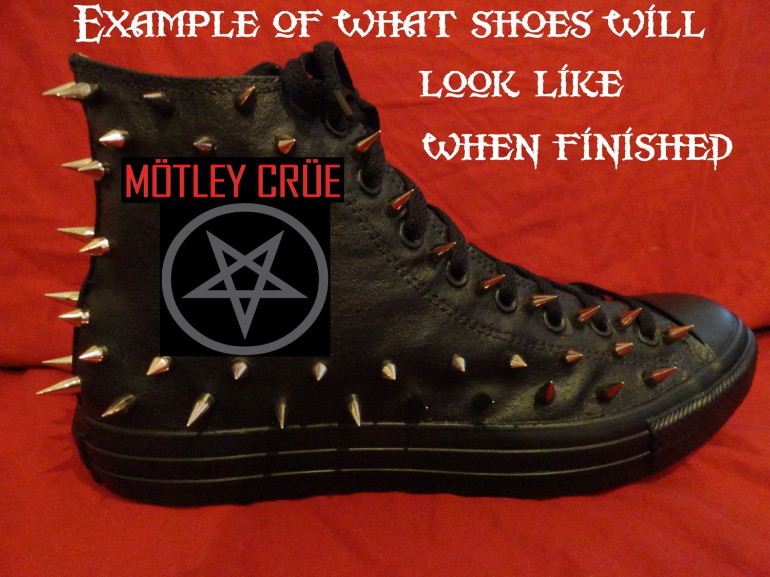 68291bc49a7 MOTLEY CRUE Heavy Metal Punk Rock Custom DIY Studded Converse Chuck Taylor  All Star Sneakers Shoes with Spikes not shirt by prettychuckedup on Etsy