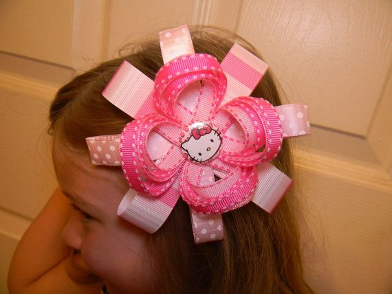 Girlie Hello Kitty Hair Bow  Handmade by by SmithsThisNThat, $7.00