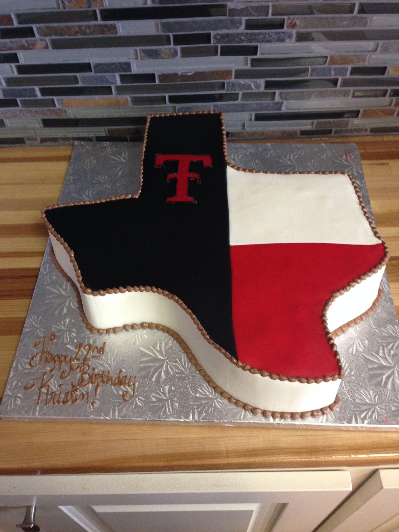 Texas Tech Texas shaped cake Texas cake, Texas shaped