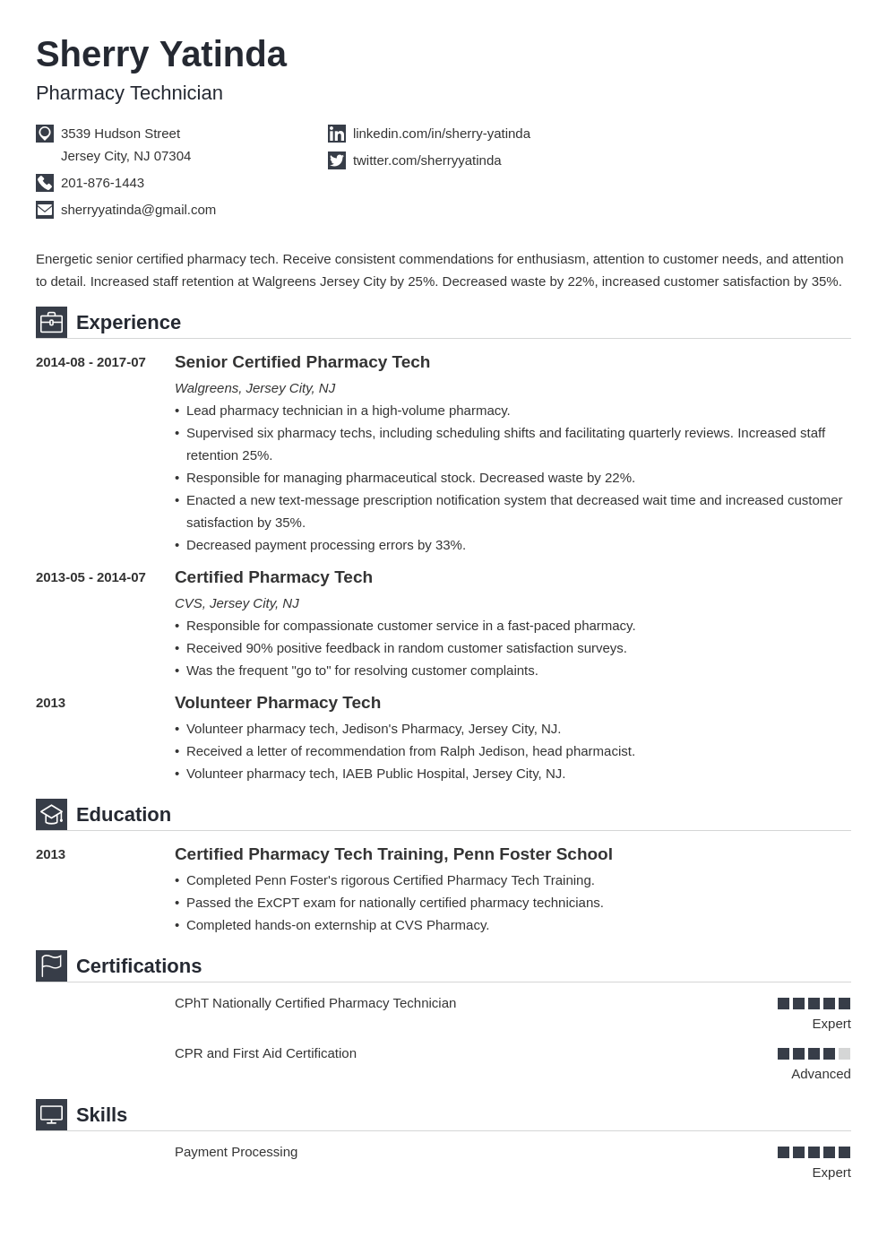 pharmacy technician resume example template iconic in 2020