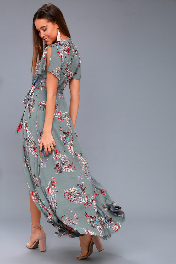 76a57bcf22b Lulus Exclusive! Add some romance to your everyday look in the Fiorire  Slate Blue Floral Print Wrap Maxi Dress! Ultra-soft