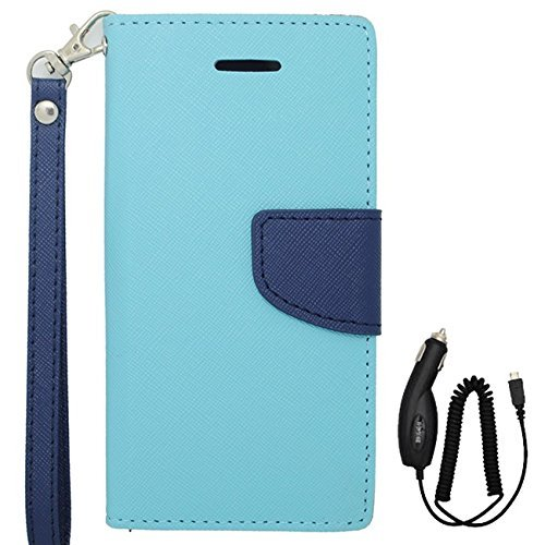 buy popular dde73 56b93 Samsung Galaxy Avant Blue Wallet Protective Case with Lanyard and ...