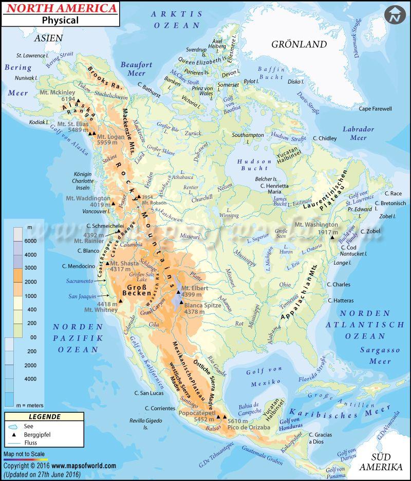 Nordamerika Physische Karte Mit Bildern Nordamerika