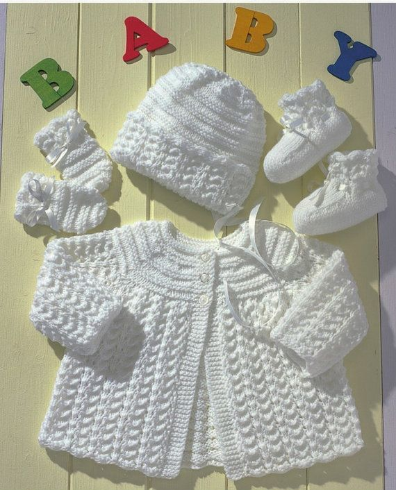 Knitting Pattern For Baby Matinee Jacket Coat Booties Mittens And
