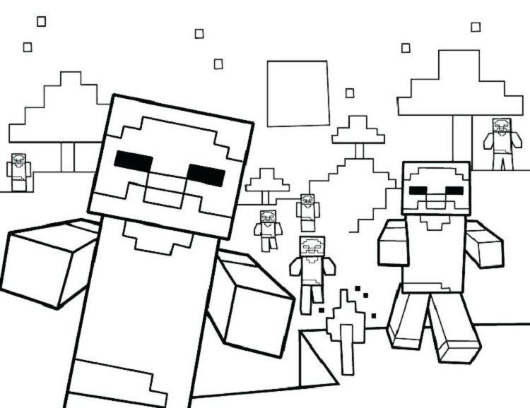 Mario Minecraft Coloring Pages Malarbocker Malarbok Minecraft