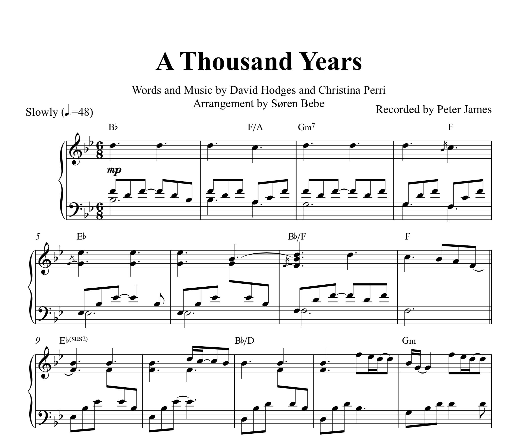 Beginner 7 Years Sheet Music Easy 42 A Thousand Years