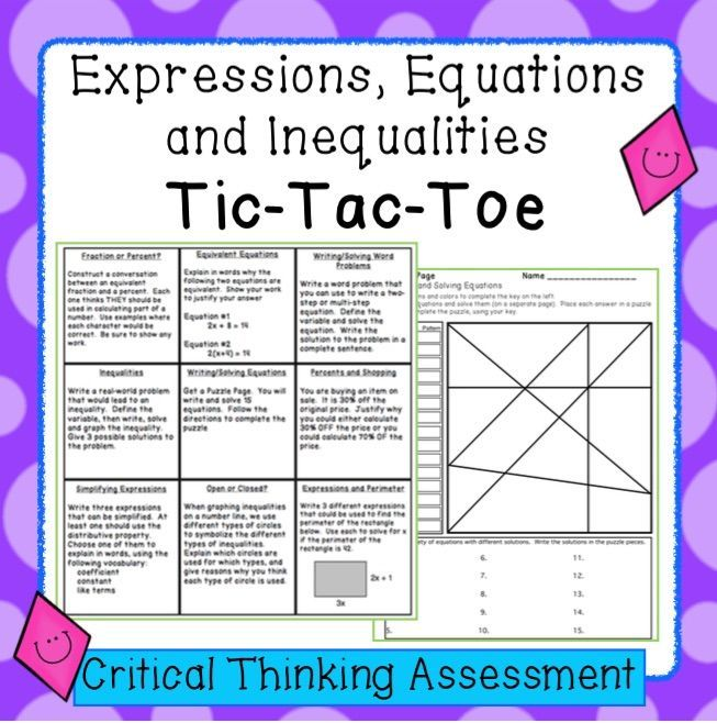 Expressions, Equations and Inequalities - Tic-Tac-Toe Assessment ...