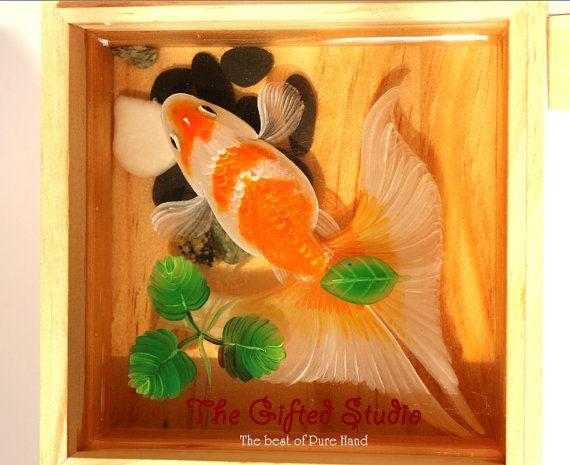 Resin Painting D Orange And White Koi Fish Paintings Handmade - Incredible 3d goldfish drawings using resin