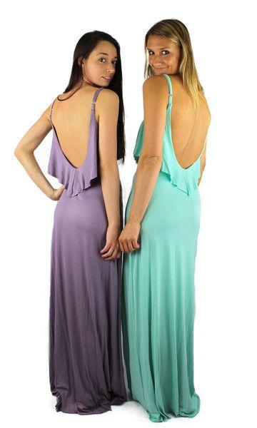 Ruffled Ultra Low Back Maxi Dress - Lavender