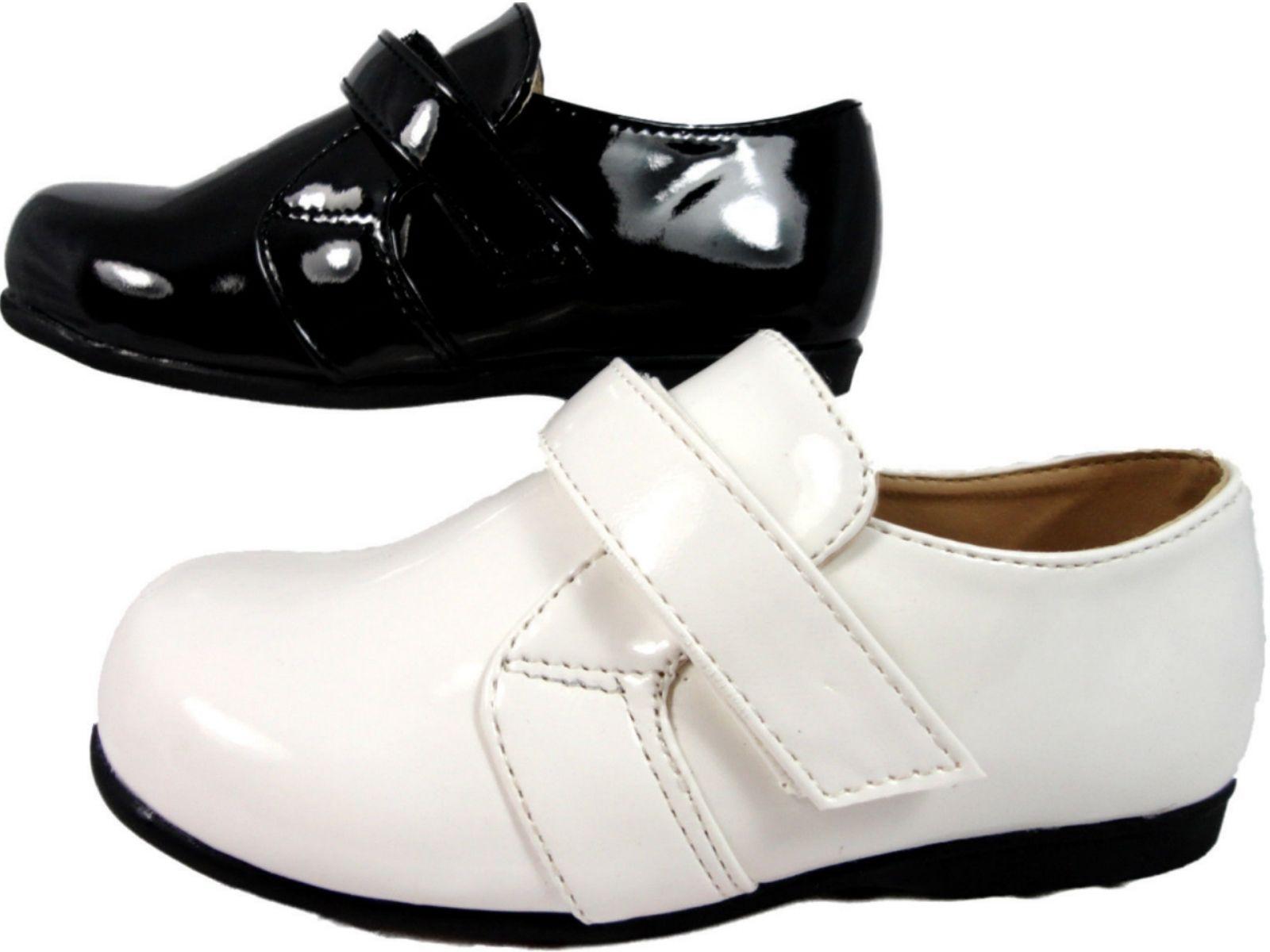 Infant Boys Wedding Page Boy Confirmation Patent Black White Shoes