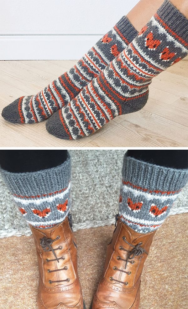 Free Knitting Pattern for Fox Isle Socks - Stranded socks with fair isle fox faces and other patterns. S - teen; M - average women; L - wide calf. Designed by Life Is Cozy. Fingering weight yarn. #knit
