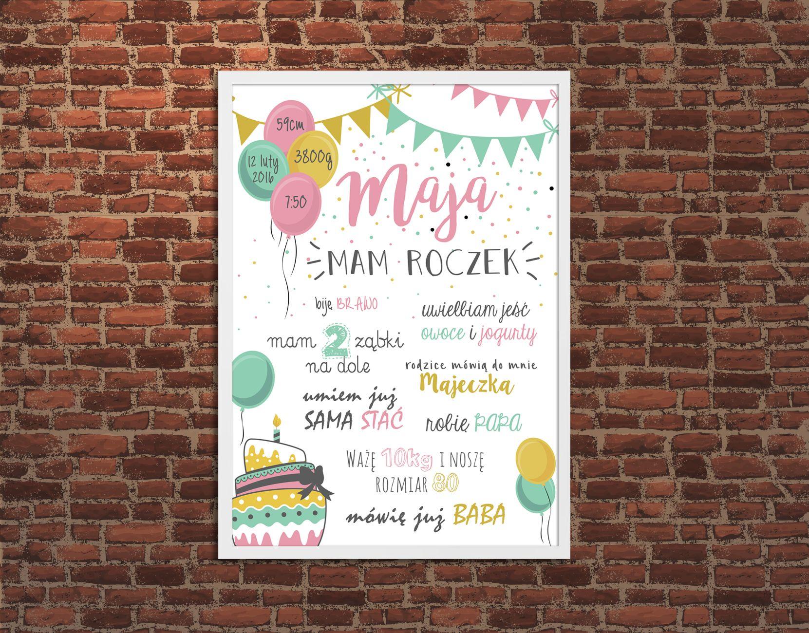 Metryczka Plakat Dla Dziecka Na Pierwsze Urodziny Plakat