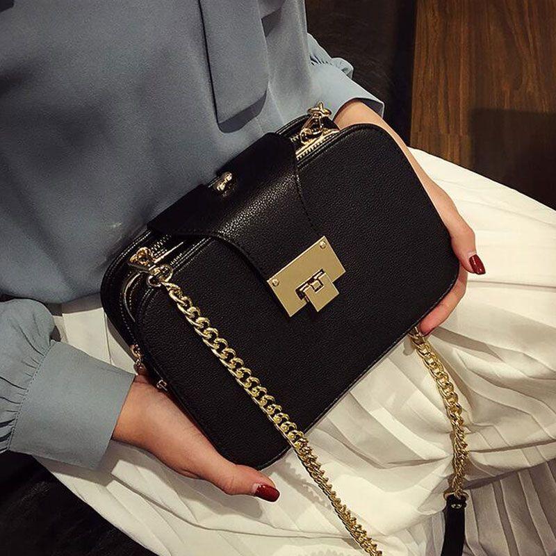 2016 여름 새로운 패션 여성 어깨 가방 체인 스트랩 플랩 메신저 가방 디자이너 핸드백 클러치 가방 금속 버클 L522