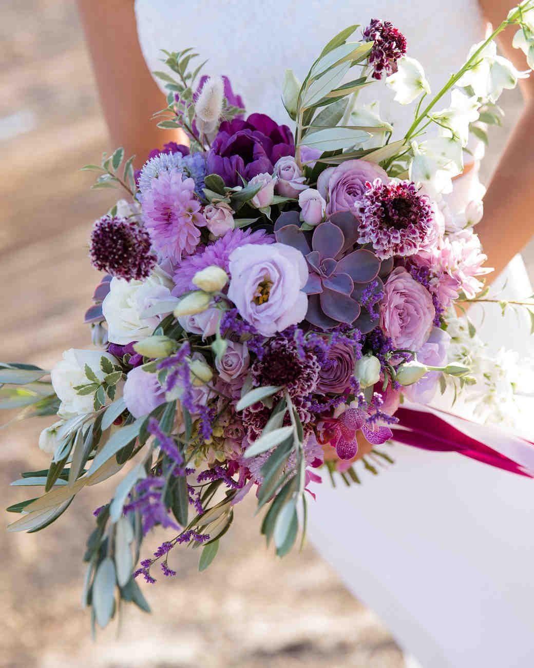 purple wedding flowers bouquets
