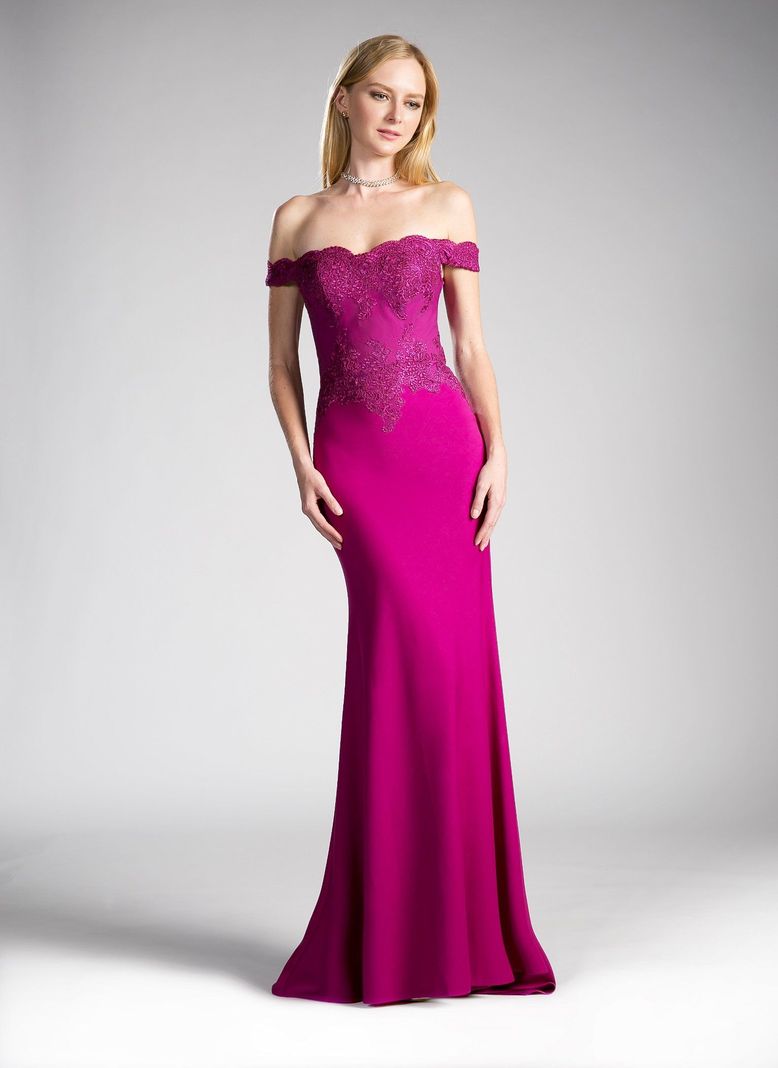 1d5bf0d98ef Long Off the Shoulder Dress with Lace Bodice by Cinderella Divine CF158