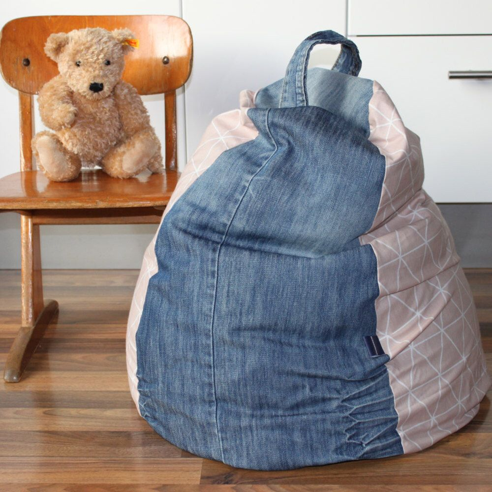 Beanbag Chair COVER For Toddlers/Kids   Recycled Denim Bean Bag Chair Cover    Toddler
