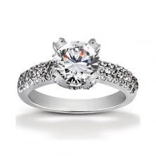 18k White Gold Pave Band with Heavy Prong Center available at Wheat Jewelers