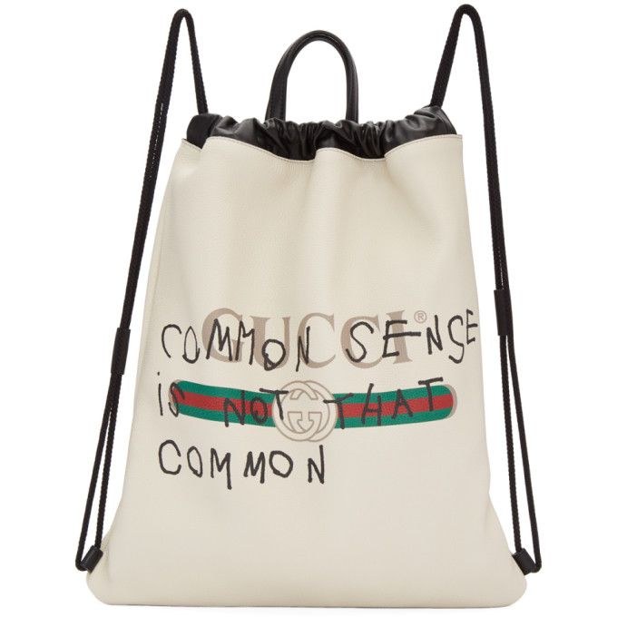 8d9757cff97118 GUCCI Off-White Coco Capitán Edition 'Fake Gucci' Drawstring Backpack. # gucci #bags #leather #backpacks #