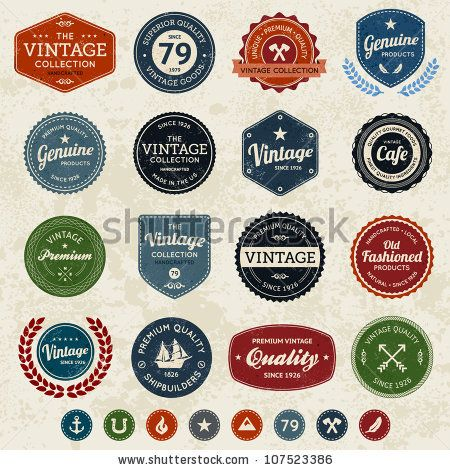 Set of retro vintage badges and labels with texture by Mike ...